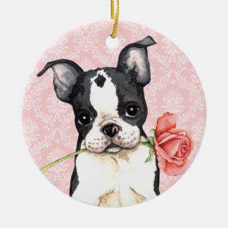 Ornamento De Cerâmica Namorados Boston cor-de-rosa Terrier