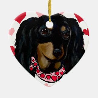 Ornamento De Cerâmica Namorados Doxie preto de cabelos compridos