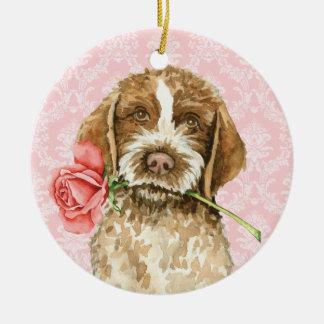 Ornamento De Cerâmica Namorados Griffon cor-de-rosa
