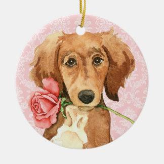 Ornamento De Cerâmica Namorados Saluki cor-de-rosa