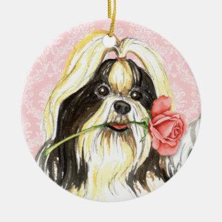 Ornamento De Cerâmica Namorados Shih cor-de-rosa Tzu