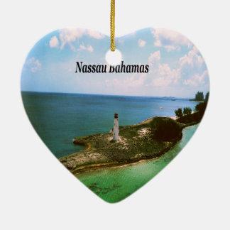 Ornamento De Cerâmica Nassau Bahamas, farol no porto
