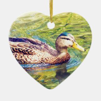 Ornamento De Cerâmica Natação bonito do pato