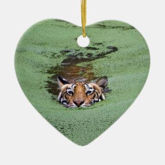 Ornamento De Cerâmica Natação do tigre de Bengal