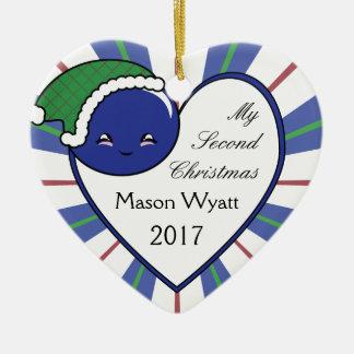Ornamento De Cerâmica Natal 2017 da cesta do mirtilo de Kawaii (menino)