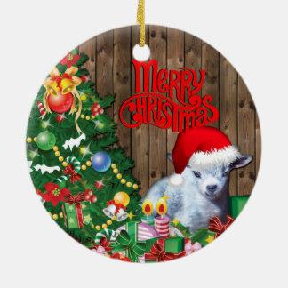 Ornamento De Cerâmica Natal adorável do bebê da cabra do pigmeu da CABRA