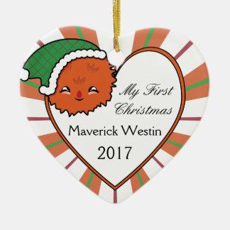 Ornamento De Cerâmica Natal alaranjado 2017 da cesta do monstro de