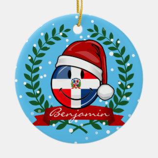 Ornamento De Cerâmica Natal alegre da bandeira da República Dominicana