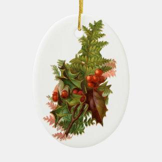 Ornamento De Cerâmica Natal antiquado, azevinho