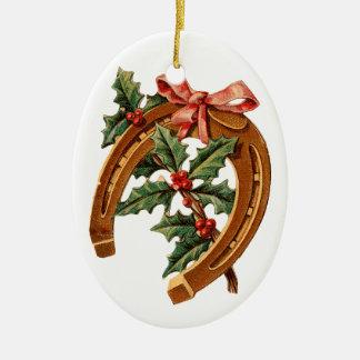 Ornamento De Cerâmica Natal antiquado, ferradura