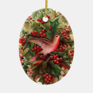 Ornamento De Cerâmica Natal antiquado, pisco de peito vermelho, azevinho