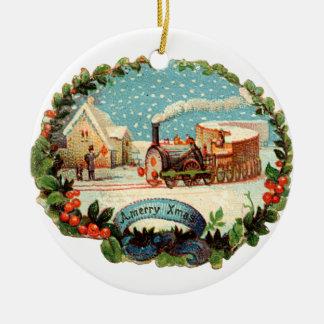 Ornamento De Cerâmica Natal antiquado, trem do vapor