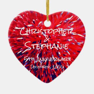 Ornamento De Cerâmica Natal azul branco vermelho do aniversário do