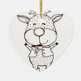 Ornamento De Cerâmica Natal bonito de Rudolf preto e branco