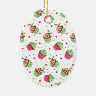Ornamento De Cerâmica Natal bonito e doce cupcakes coloridos