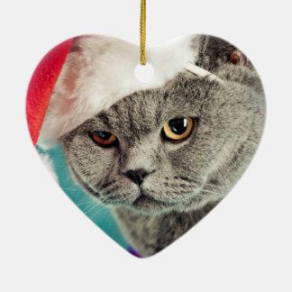 Ornamento De Cerâmica Natal cinzento do gato - gato do Natal - gato do