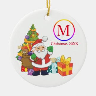 Ornamento De Cerâmica Natal clássico do monograma de Papai Noel