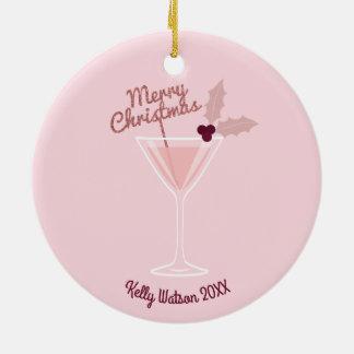 Ornamento De Cerâmica Natal cor-de-rosa de Martini
