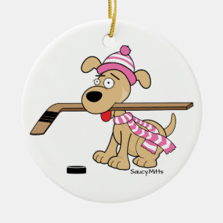 Ornamento De Cerâmica Natal cor-de-rosa do cão do hóquei dos desenhos