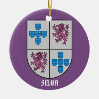 Ornamento De Cerâmica Natal da brasão da família do Silva
