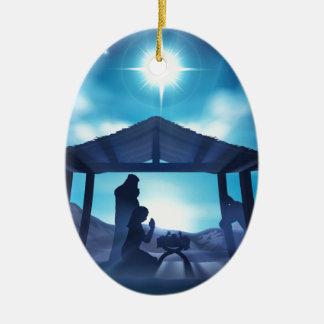 Ornamento De Cerâmica Natal da cena da natividade