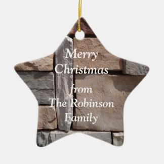 Ornamento De Cerâmica Natal da família da alvenaria do artesão
