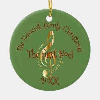Ornamento De Cerâmica Natal da família o primeiro Noel