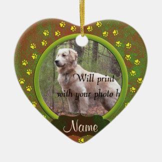 Ornamento De Cerâmica Natal da foto dos impressões da pata do cão ou do