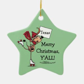 Ornamento De Cerâmica Natal da Patinar-Feliz do rolo de Longhorn você!