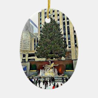 Ornamento De Cerâmica Natal da pista de patinagem da árvore de NYC
