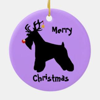 Ornamento De Cerâmica Natal da rena do Schnauzer