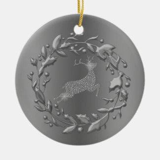 Ornamento De Cerâmica Natal da rena e da grinalda do peltre