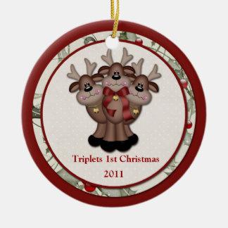Ornamento De Cerâmica Natal das objectivas triplas da rena ø