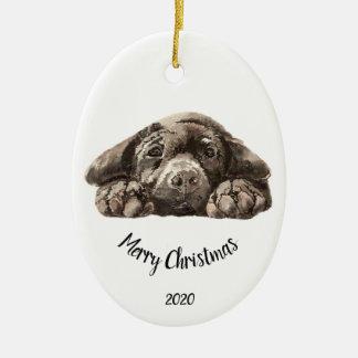 Ornamento De Cerâmica Natal datado feito sob encomenda labrador