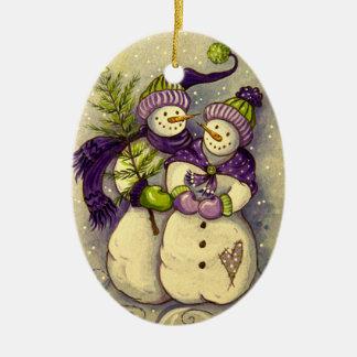 Ornamento De Cerâmica Natal de 4882 bonecos de neve
