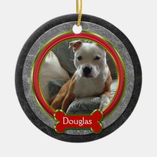 Ornamento De Cerâmica Natal de couro cinzento verde vermelho da foto do