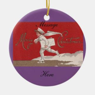 Ornamento De Cerâmica Natal de patinagem de Thunder_Cove do vintage do