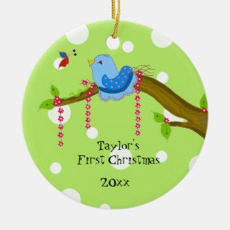 Ornamento De Cerâmica Natal do bebê das bolinhas o primeiro