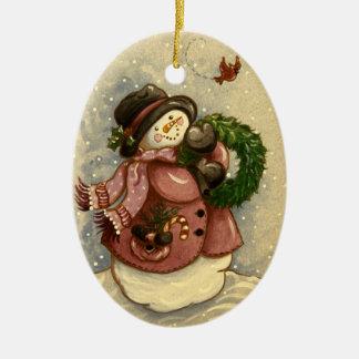 Ornamento De Cerâmica Natal do cardeal da grinalda de 4886 bonecos de
