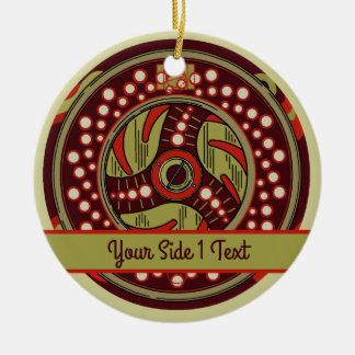 Ornamento De Cerâmica Natal do carretel da pesca com mosca
