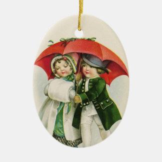 Ornamento De Cerâmica Natal do casal do vintage primeiro