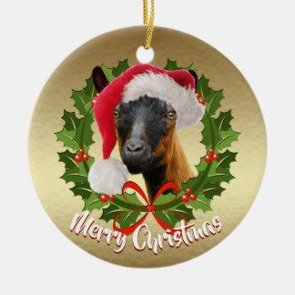 Ornamento De Cerâmica Natal do chapéu do papai noel da gama da cabra da