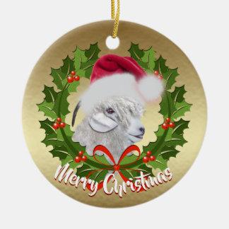 Ornamento De Cerâmica Natal do chapéu do papai noel da gama da cabra do