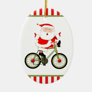 Ornamento De Cerâmica Natal do ciclista
