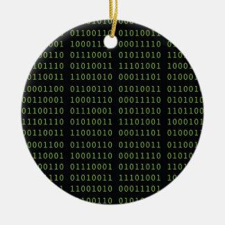 Ornamento De Cerâmica Natal do código binário com nome