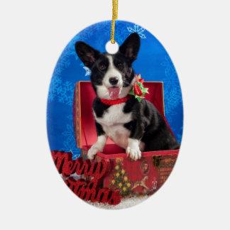 Ornamento De Cerâmica Natal do Corgi