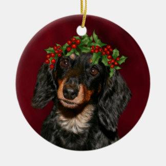 Ornamento De Cerâmica Natal do Dachshund