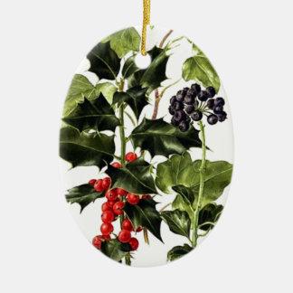Ornamento De Cerâmica Natal do design do azevinho e da hera