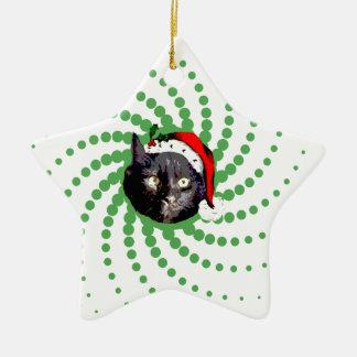 Ornamento De Cerâmica Natal do gato preto