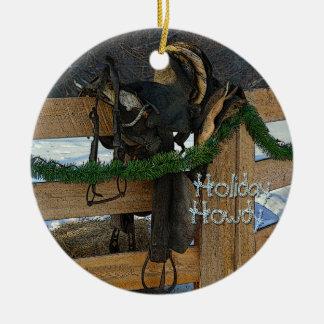 Ornamento De Cerâmica Natal do país do rancho do feriado Howdy